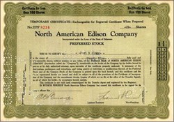 North American Edison Company 1925 - Early Certificate