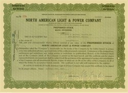 North American Light and Power Company - 1920's Preferred Stock