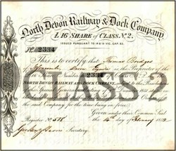North Devon Railway and Dock Company 1852 - Early English Railroad