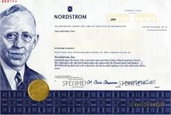 Nordstrom Department Stores (Blake W. Nordstrom as President) - Specimen Stock Certificate