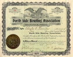North Side Bowling Association (Early Bowling Stock)  - Indianapolis, Indiana 1898