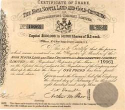 Nova Scotia Land and Gold Crushing and Amalgamating Company - Canada 1863