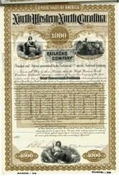 North Western North Carolina Railroad Co.  $1000 Gold Bond - 1888