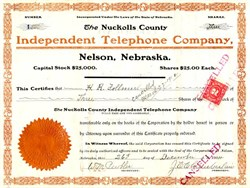 Nuckolls County Independent Telephone Company - Certificate #1 - Nelson, Nebraska 1904