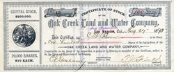 Oak Creek Land and Water Company - San Francisco, California 1895