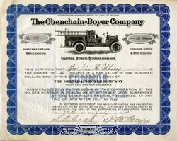 Obenchain - Boyer Company - Fire Truck Vignette ( Fire Trucks and Equipment ) - Logansport, Indiana -1921