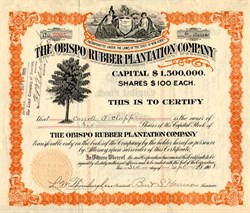 Obispo Rubber Plantation Company Certificate and Book (When Rubber was High Tech) - New Jersey 1908