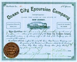 Ocean City Excursion Company signed by Wesley Lake(co founder of Ocean City) - New Jersey 1887