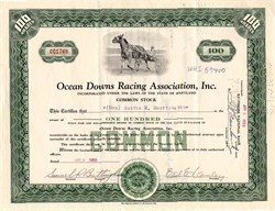 Ocean Downs Racing Association, Inc. - Ocean City, Maryland 1953