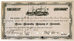Ocean Steamship Company of Savannah (issued to the Central Rail Road and Banking Company of Georgia) - Georgia 1882