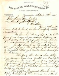 Singer Sewing Machine Manufacturing Company Letter -  1868