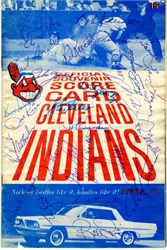 Official Souvenir Scorecard of the Cleveland Indians handsigned by Los Angels Angeles Team- June 1961