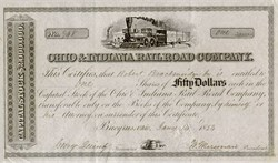 Ohio and Indiana Railroad Company Stock Certificate  - 1854