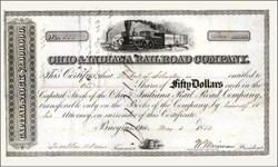 Ohio & Indiana Railroad Company 1853