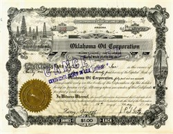 Oklahoma Oil Corporation signed by J. Paul Getty as President - 1927
