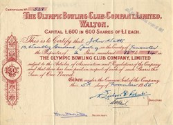 Olympic Bowling Club Company, Limited - England 1955