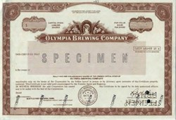 Olympia Brewing Company Rare Specimen Certificate  - Tumwater, Washington 1982