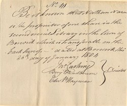 Second Social Library (Signed by Judge Benjamin Chadbourne, Edward P. Hayman and Jno. Cushing ) - Berwick , Massachusetts (now Maine) - 1804