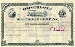 Old Colony Steamboat Company signed by Frederick L. Ames 1881