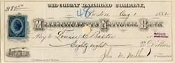 Old Colony Railroad Company Check- 1882