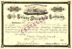 Old Colony Steamboat Company Stock Certificate - Massachusetts 1891