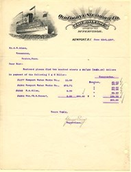 Old Colony Steamboat Co. Fall River Line Letterhead - Newport, Rhode Island 1897