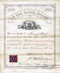Old First Virginia Infantry 1861-1865 Ornate Certificate from Confederacy - Virginia