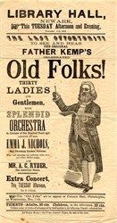 Old Folks Father Kemp Liberty Hall Concert Broadside - Newark, New Jersey 1860