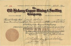 Old Hickory Copper Mining & Smelting Company - New Mexico 1901