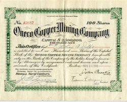 Oneco Copper Mining Company - RARE - Houghton, Michigan 1916