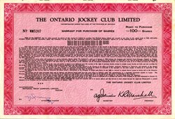 Ontario Jockey Club, Limited (Now Woodbine Entertainment Group) - Ontario, Canada 1956