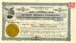 Option Mining Company 1926 - Idaho