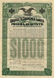 Orange and Cronomer Lakes Power and Realty Company - New York 1909