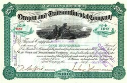 Oregon and Trancontinental Company signed by famous financier Henry Villard (American journalist, financier and president of the Northern Pacific Railway) 1882