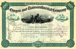 Oregon and Transcontinental Company signed by George Pullman (Pullman Palace Car Company)  - 1881