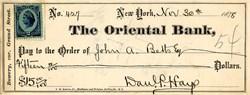 Oriental Bank - New York 1878