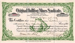 Original Bullfrog Mines Syndicate - Incorporated in Territory of Arizona - Goldfield, Neveda 1907