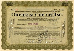 Orpheum Circuit Inc. signed by Martin Beck  - 1920 - Early Silent Movie Theatre Chain