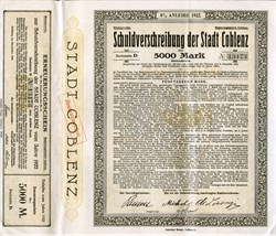 Original Germany Loan 1922 8% Bond City Stadt Coblenz Koblenz 5000 Marks Uncancelled