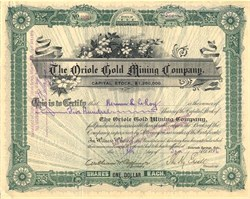 Oriole Gold Mining Company - Cripple Creek, Colorado 1896