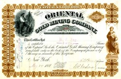 Oriental Gold Mining Company - New York 1881 - Nevada. Esmeralda. Gold Mountain.