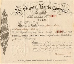 Oriental Hotels Company, Limited - England 1863