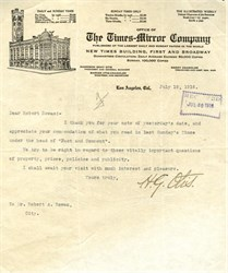 Original letter from the Times-Mirror Company, publisher of the Los Angeles Times hand signed by Harrison Gray Otis -1916