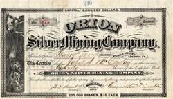 Orion Mining Company signed by Hamilton Disston  - Arizona 1881