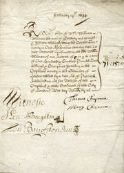 Handwritten Receipt and Assignement for Orphan Monies to the Chamber of London dated 1694 (321 years old)