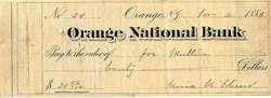 Orange National Bank Check signed by Mina Edison - Thomas Edison's wife - New Jersey 1886
