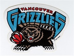Original NBA Vancouver Grizzlies Logo Sticker from 1995
