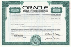 Oracle Systems Corporation (Name later changed to Oracle Corporation) - Delaware 1989