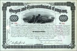 Oregon & Transcontinential Co $1000 Bond 1882
