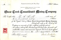 Oscar Creek Consolidated Mining Company - Grants Pass, Oregon 1915